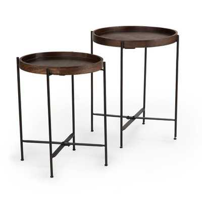 Capri Brown Round Accent Tables with Mango wood with Iron Base (Set of 2) - Home Depot
