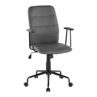 Lumisource Fredrick Grey Faux Leather Office Chair - Home Depot
