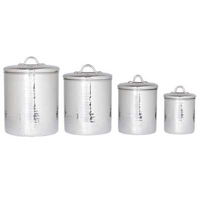4 Qt., 2 Qt., 1.5 Qt., 1 Qt. Stainless Steel (Silver) Hammered Canister Set with Fresh Seal Covers (4-Piece) - Home Depot