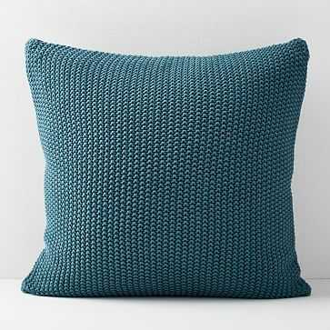 Cotton Knit Pillow Cover, Mineral Blue - West Elm