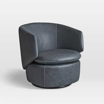 Crescent Leather Swivel Chair, Navy Ludlow - West Elm