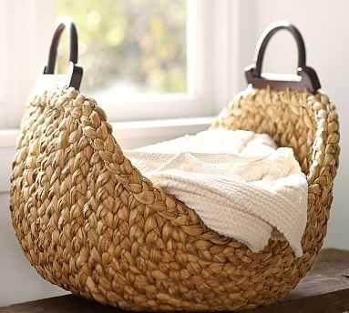 Beachcomber Wood Handled Basket - Pottery Barn