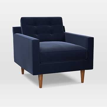 Drake Midcentury Chair, Performance Velvet, Ink Blue, Pecan - West Elm