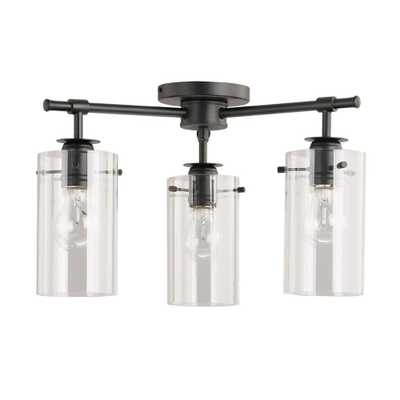 DSI 3-Light Black Semi-Flush mount with Clear Glass Shades - Home Depot