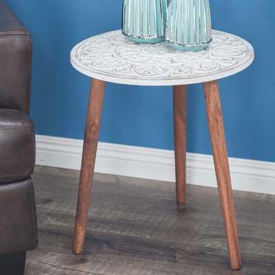 Mingus Wood Carved End Table - Wayfair