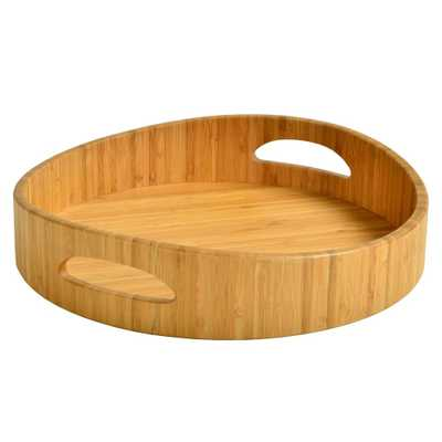 Bamboo Curved Cocktail Tray, Brown - Home Depot