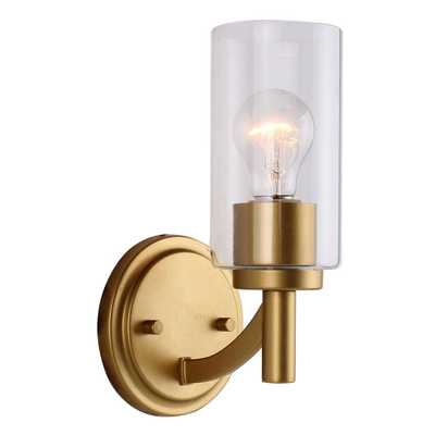 Eglo Devora 1-Light Antique Gold and Clear Class Wall Sconce - Home Depot
