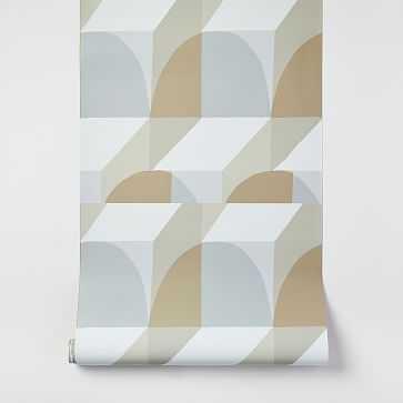 Spliced Geo Wallpaper, Nordic Sand - West Elm