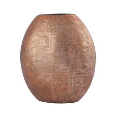 Kolkata 10 in. Aluminum Decorative Vase in Copper (Brown) - Home Depot