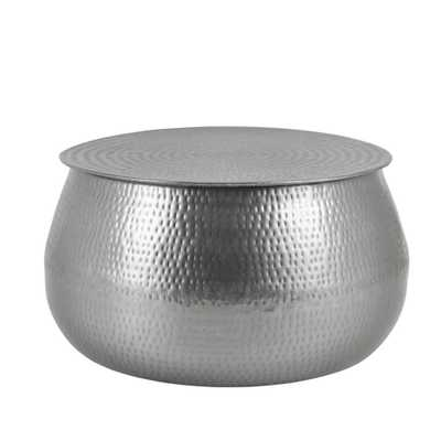 Home Decorators Collection Calluna Round Silver Metal Coffee Table with Storage and Hammered Finish (30 in. W x 15.5 in. H) - Home Depot