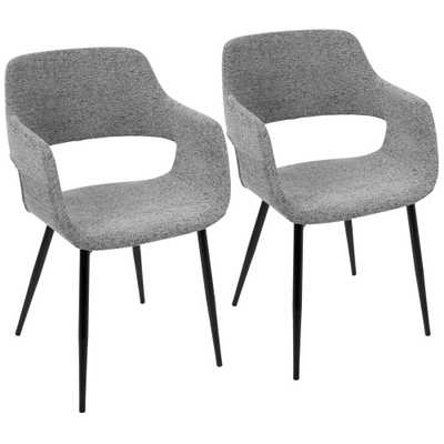 Margarite Mid-Century Grey Modern Dining/Accent Chair (Set of 2), Grey/Black - Home Depot