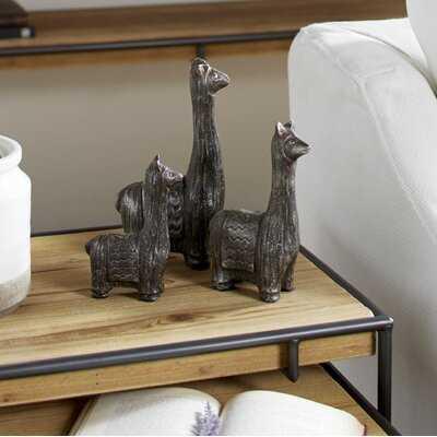 3 Piece Leslee Carved Metal Llama Table Decor Figurine Set - Wayfair