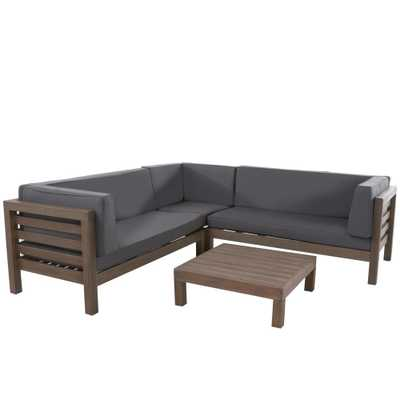 Noble House Oana Grey 4-Piece Wood Outdoor Sectional Set with Dark Grey Cushions - Home Depot