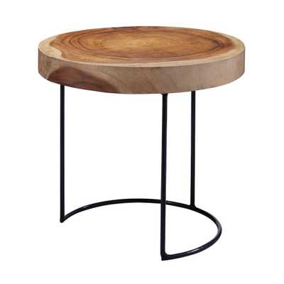 Natural Finish Wood Slab Side Table, Natural Wood - Home Depot