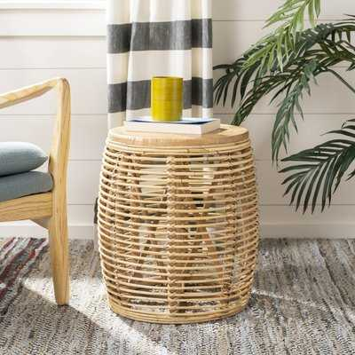 Amidon Rattan Drum End Table, Natural - Wayfair