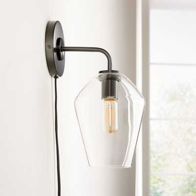 Arren Black Wall Sconce with Clear Angled Shade - Crate and Barrel
