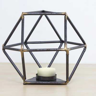 Geometric Metal Candle Holder, Gray - Home Depot