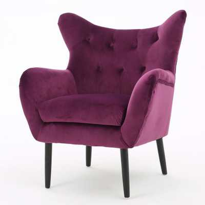 Seigfried Fuchsia (Pink) New Velvet Tufted Arm Chair - Home Depot