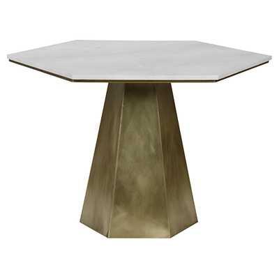 Harding Modern White Quartz Antique Brass Hexagon Bistro Table - Kathy Kuo Home