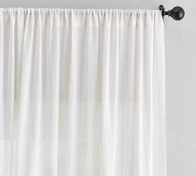 """Cotton Gauze Sheer Curtain, 96"""", Ivory - Pottery Barn"""