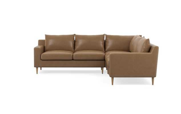 Sloan Leather Corner Sectional with Palomino and Natural Oak legs - Interior Define