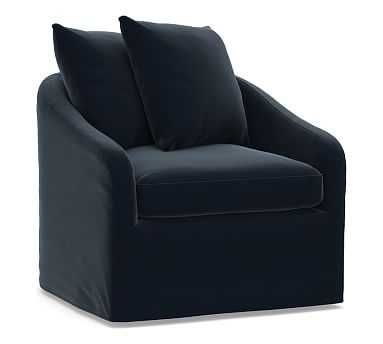 Anniston Slipcovered Swivel Armchair, Down Blend Wrapped Cushions, Performance Plush Velvet Navy - Pottery Barn