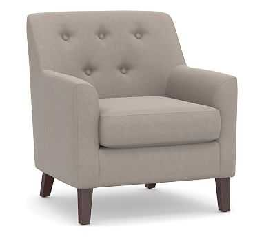 Soma Walter Upholstered Armchair, Polyester Wrapped Cushions, Performance Everydayvelvet(TM) Carbon - Pottery Barn