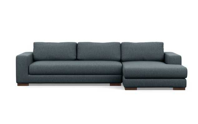 Henry Right Sectional with Blue Rain Fabric, extended chaise, and Oiled Walnut legs - Interior Define
