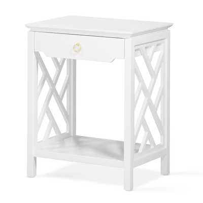 Quality Components Plus Thomas White Chippendale-Style Nightstand - Home Depot