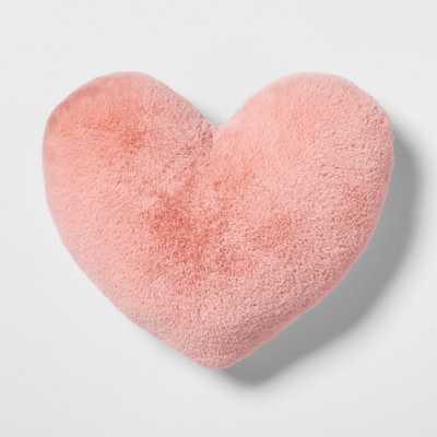 Heart Faux Fur & Velvet Throw Pillow Pink - Pillowfort - Target
