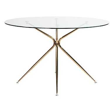 Avery Round Dining Table, Brushed Rose Gold - Pottery Barn