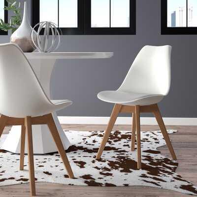 Dakota Upholstered Dining Chair (Set of 2) - White Upholstery/White Frame/Natural Legs - Wayfair