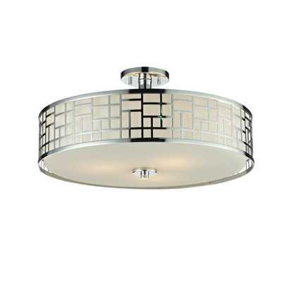 Filament Design Velia 3-Light Chrome Modern Semi-Flush Mount with Round Matte Opal Glass Shades - Home Depot