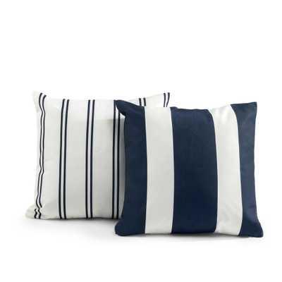 Zinus Tecoria Navy Mixed Stripe Outdoor Square Throw Pillow Set - Home Depot