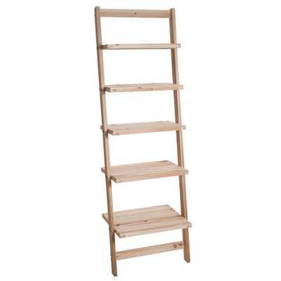 5-Tier Ladder Blonde Wood Storage Shelf, Light Brown - Home Depot