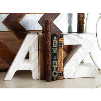 White Ceramic A and Z Bookends (Set of 2) - Home Depot