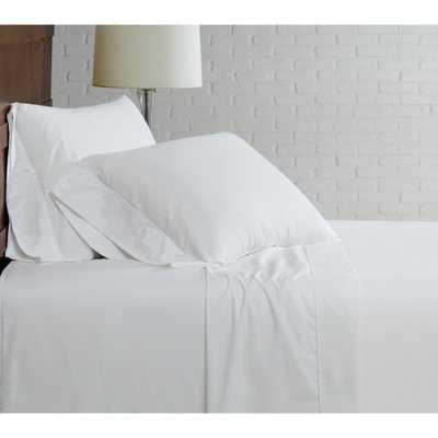 Brooklyn Loom Classic Cotton White Twin Sheet Set - Home Depot