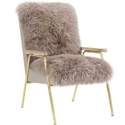Sprint Brown Sheepsk Armchair, Brown Brown - Home Depot