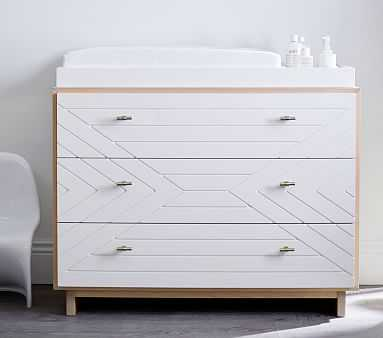Cora Carved Nursery Dresser & Topper Set, Natural/Simply White, Flat Rate - Pottery Barn Kids