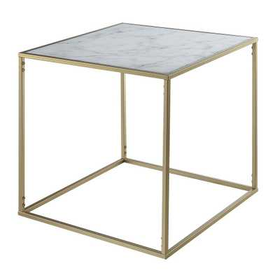 Convenience Concepts Gold Coast Gold and Faux Marble End Table, Gold/Faux Marble - Home Depot