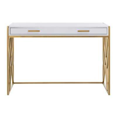 Safavieh Elaine White/Gold Desk with Drawer - Home Depot