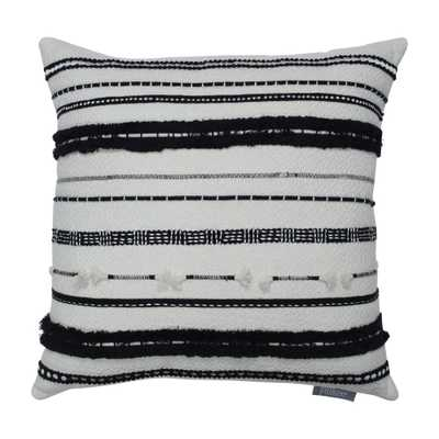 Line Works Square Throw Pillow Black/White - Pillow Perfect - Target