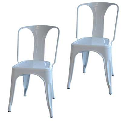 White Metal Dining Chair (Set of 2) - Home Depot
