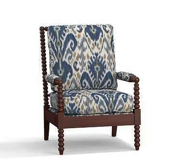 Loralie Upholstered Armchair with Walnut Finish, Polyester Wrapped Cushions, Ikat Geo Blue - Pottery Barn