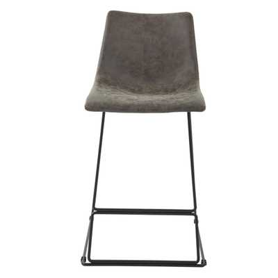 OSP Home Furnishings Nash 26 in. Counter Stool in Charcoal Faux Leather (Set of 2), Charcoal Gray - Home Depot