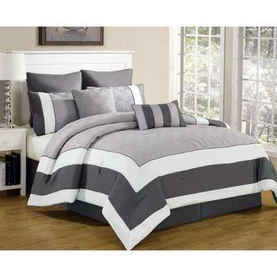 Queen Comforter Set in Spain Sandstone-Smoke (8-Piece) - Home Depot