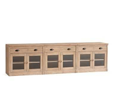 Lucca Large TV Stand with Glass Doors, Salvaged Pine - Pottery Barn