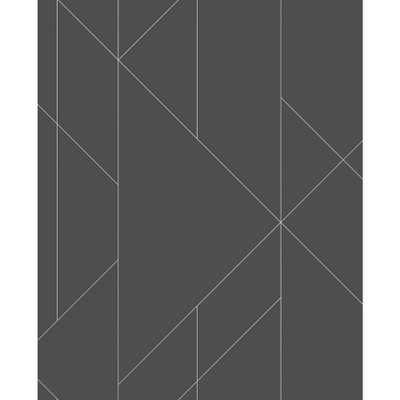 A-Street 56.4 sq. ft. Torpa Charcoal (Grey) Geometric Wallpaper - Home Depot