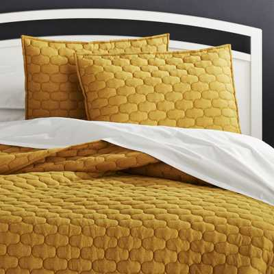 Fontaine Golden Olive King Quilt - Crate and Barrel