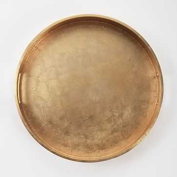 "Wood + Lacquer Round Tray, 18"", Gold - West Elm"